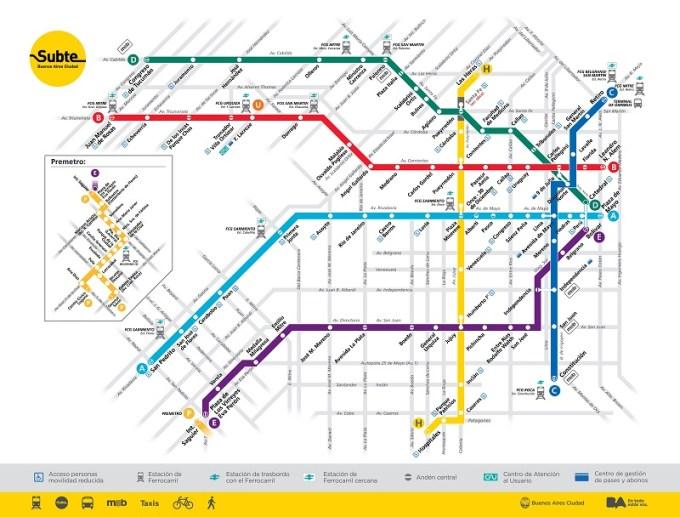 Mapa do Metrô de Buenos Aires - Argentina