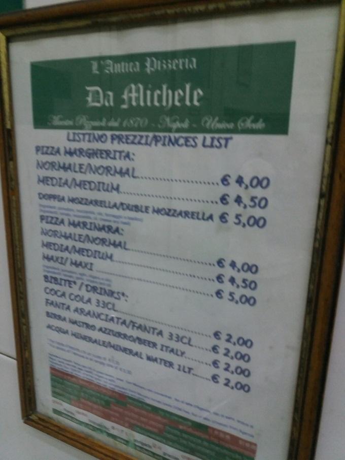 Preço das pizzas em Nápoles