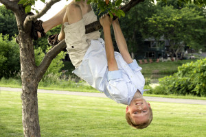 Carter hanging from a tree