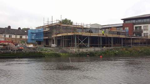 A view of the ongoing work on the boathouse from our second home the River Lagan
