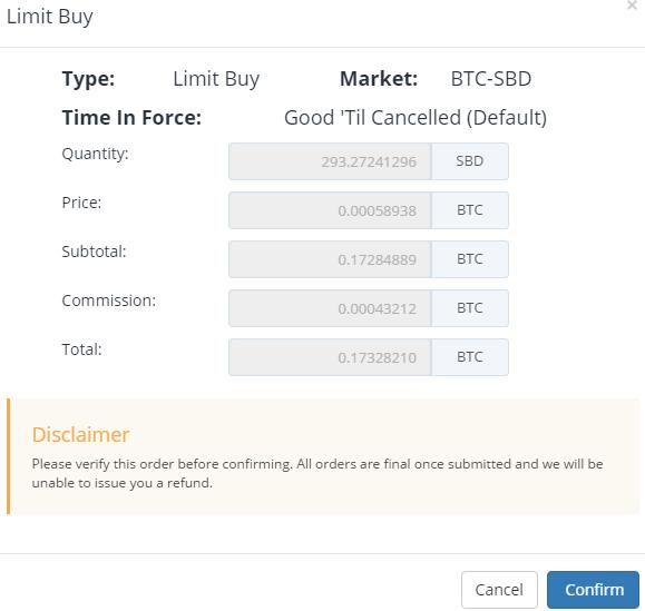 QUE.com.Bittrex.Buy.STEEM.SBD.confirm