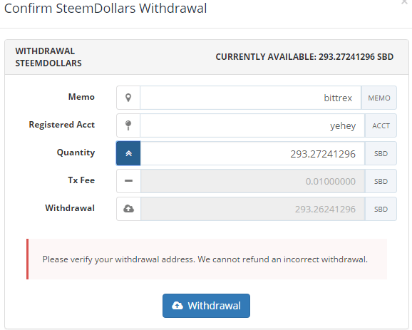 QUE.com.Bittrex.Buy.STEEM.SBD.withdraw