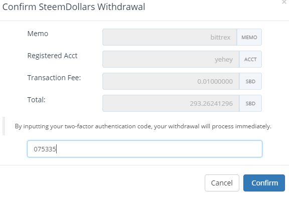 QUE.com.Bittrex.Buy.STEEM.SBD.withdraw.twofactorauthentication.confirmation