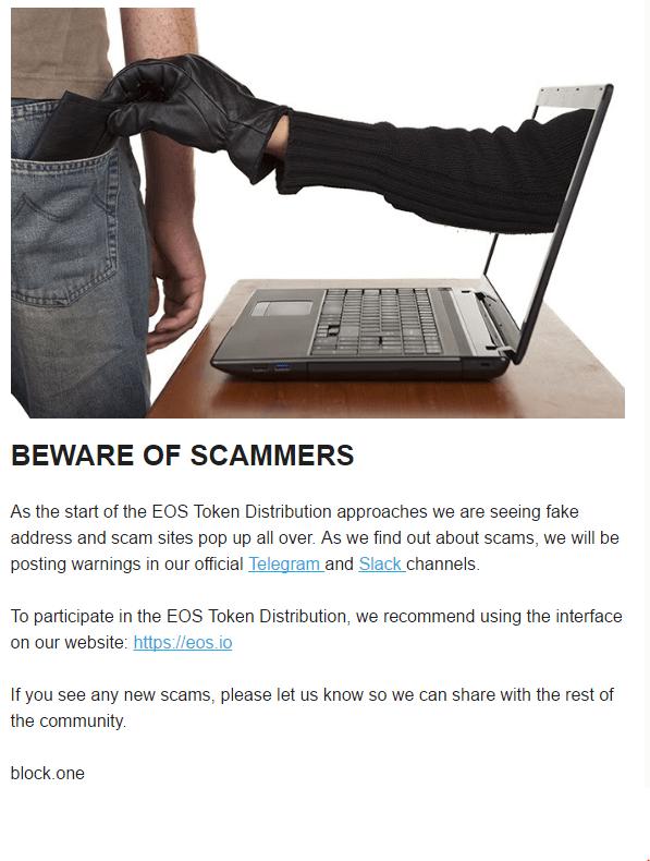QUE.com.EOS.bewareofscammers.FakeAddressesAndScamSites