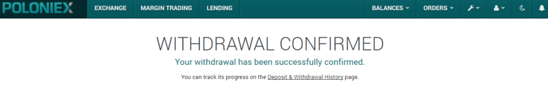QUE.com.Poloniex.Bitcoin.Withdraw.twofactorauthentication.confirmation.email.confirmed