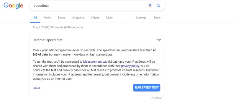 Que.com.Google.Internet.SpeedTest.Search.Result