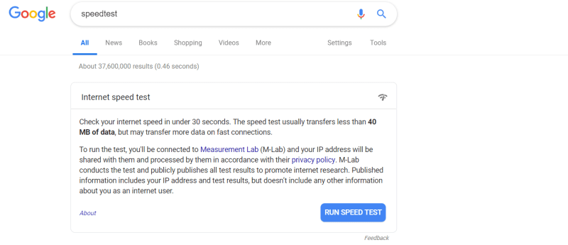 Que.com.Google.Internet.SpeedTest.Search.Result