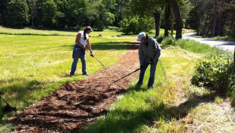Trail being installed in front of Marshland Farms