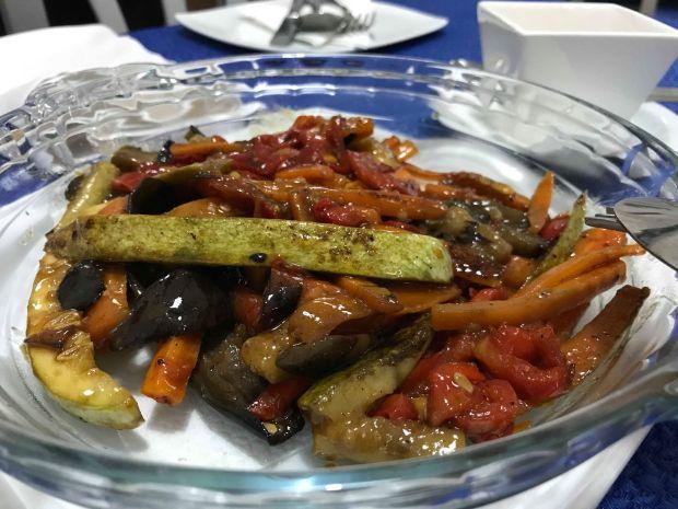 pimiento, calabacines y zanahorias
