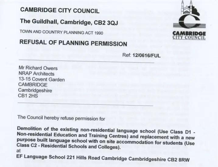 Refusal of Planning Permission notice