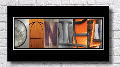 A personalized basketball name poster