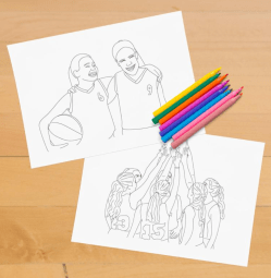 Girls basketball coloring book pages