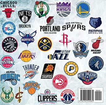 NBA team logo coloring book gift for basketball players