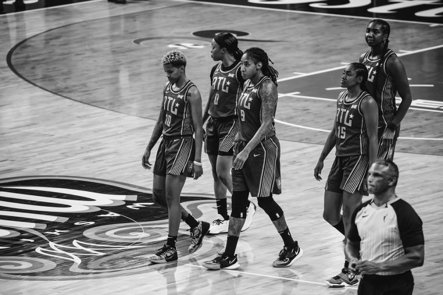 Atlanta Dream WNBA team takes the court ahead of playing the Washington Mystics
