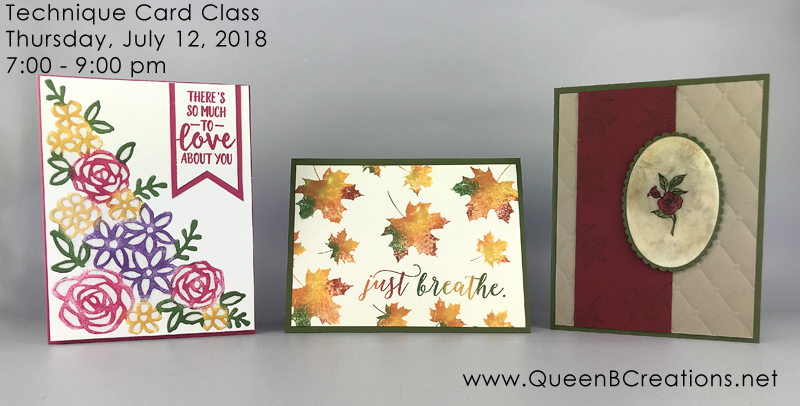 Stampin' Up! Technique Card Making Class in Twin Falls, ID and also available online.