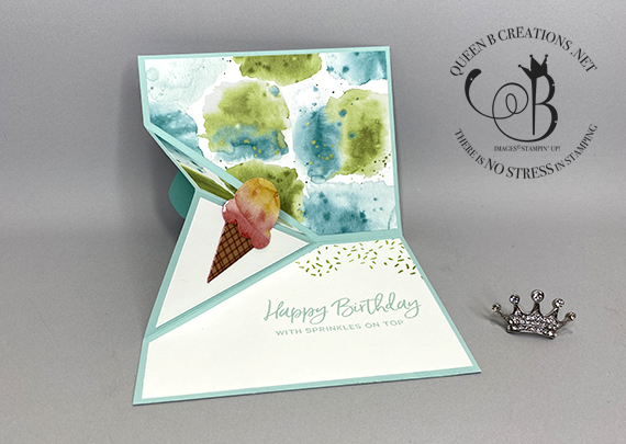 Stampin' Up! Ice Cream Corner DSP Angle Corner Fold card by Lisa Ann Bernard of Queen B Creations