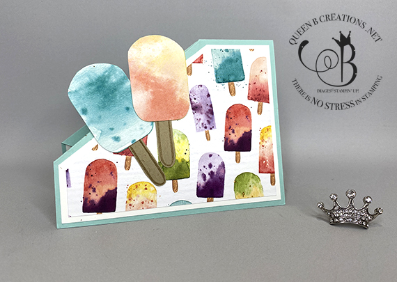 Stampin' Up! Ice Cream Corner DSP Angle Corner Fold card by Lisa Ann Bernard of Queen B Creations