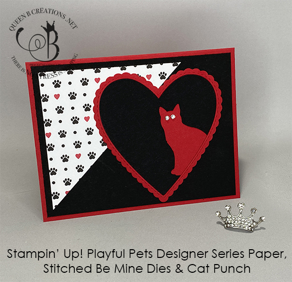 Stampin' Up! Playful Pets Stitched Be Mine Dies Cat Punch handmade card by Lisa Ann Bernard of Queen B Creations