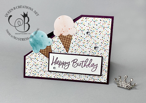 Stampin' Up! Sweet Ice Cream Corner Happy Birthday Fun Fold card by Lisa Ann Bernard of Queen B Creations
