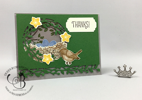 Stampin' Up! Birds & Branches bundle Thank You card by Lisa Ann Bernard of Queen B Creations
