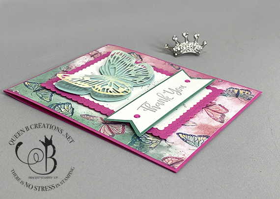 Stampin' Up! Butterfly Brilliance Thank You handmade card by Lisa Ann Bernard of Queen B Creations