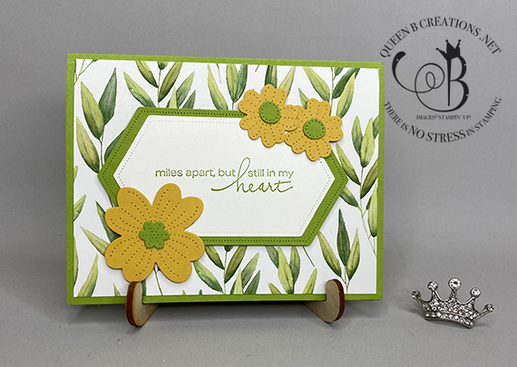 Stampin' Up! Lovely You In Bloom Stitched Nested Labels Forever Greenery DSP card by Lisa Ann Bernard of Queen B Creations
