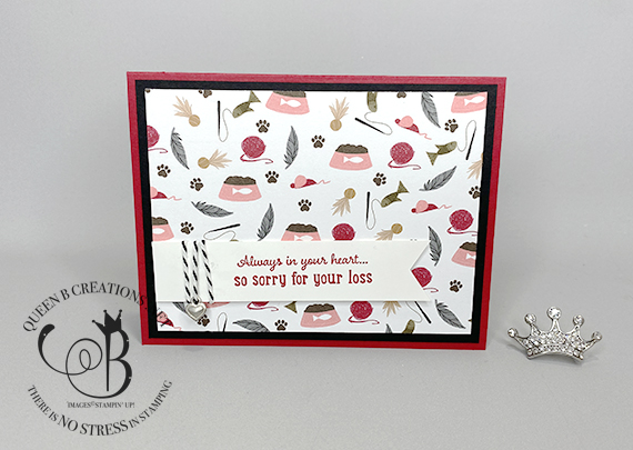 Stampin' Up! Pampered Pets cat banner sympathy card by Lisa Ann Bernard of Queen B Creations