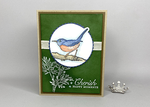 Stampin' Up! Etched In Nature White Emboss Resist Technique card by Lisa Ann Bernard of Queen B Creations