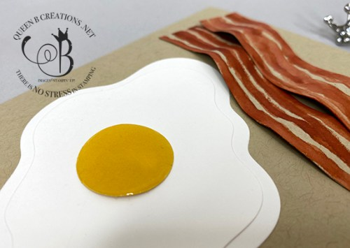 Stampin' Up! Layering Diorama Dies Eggs & Bacon card by Lisa Ann Bernard of Queen B Creations