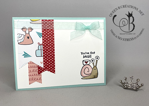 Stampin' Up! Snail Mail Banner Pick a Punch DSP banners hello card by Lisa Ann Bernard of Queen B Creations