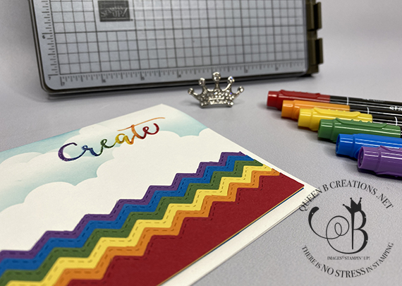 Stampin' Up! Stamparatus Basic Borders die zig zag rainbow clouds create colored heat embossing card by Lisa Ann Bernard of Queen B Creations