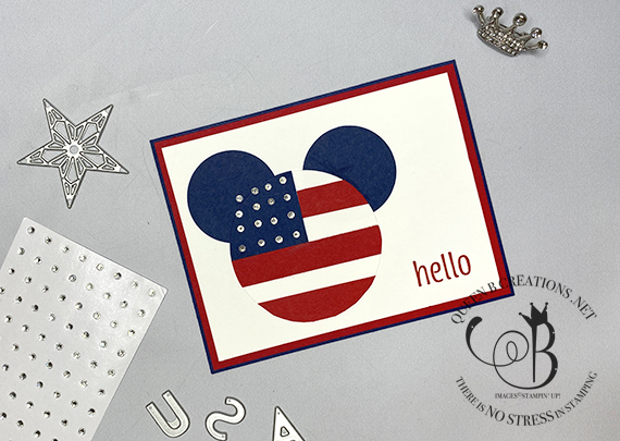 Stampin' Up! Layering Circles Mickey Mouse 4th of July handmade card by Lisa Ann Bernard of Queen B Creations