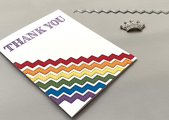 Stampin' Up! Ornate Thanks Basic Borders Dies rainbow ric rac thanks card by Lisa Ann Bernard of Queen B Creations