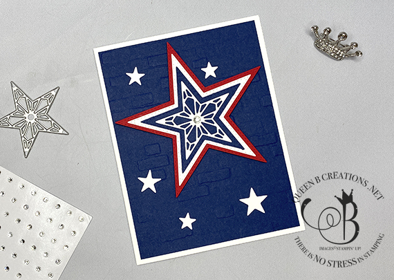 Stampin' Up! Stitched Stars on bricks 4th of July handmade card by Lisa Ann Bernard of Queen B Creations