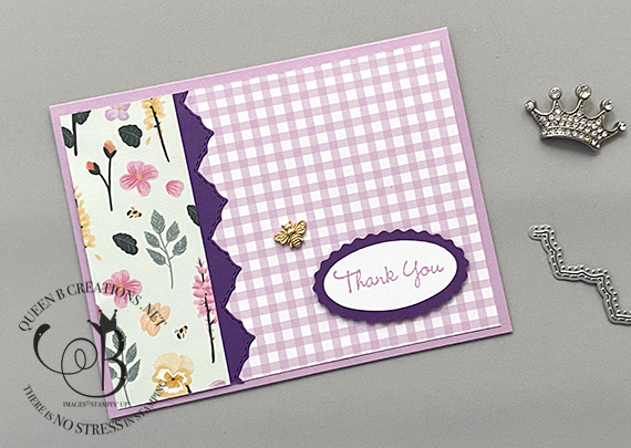Stampin' Up! Basic Borders Pansy Patch thank you card by Lisa Ann Bernard of Queen B Creations