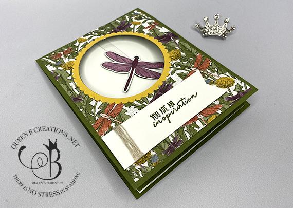 Stampin' Up! Dragonfly Garden pendulum card by Lisa Ann Bernard of Queen B Creations