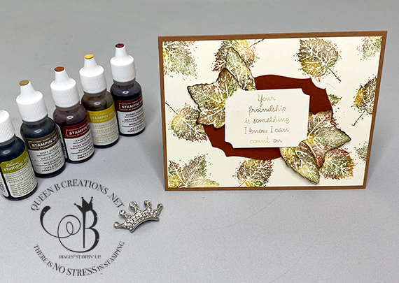 Stampin' Up! Gorgeous Leaves Baby Wipe Technique handmade card by Lisa Ann Bernard of Queen B Creations