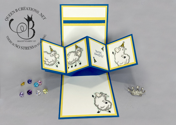 Stampin' Up! Counting Sheep Twist & Pop handmade birthday card by Lisa Ann Bernard of Queen B Creations