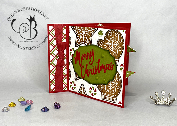 Stampin' Up! Gingerbread and Peppermint DSP Book Binding card with pop out by Lisa Ann Bernard of Queen B Creations