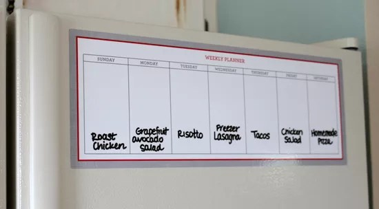 weekly meal planner organization