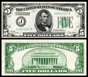 Federal Reserve Note - Five Dollars - U.S. Bankster Currency