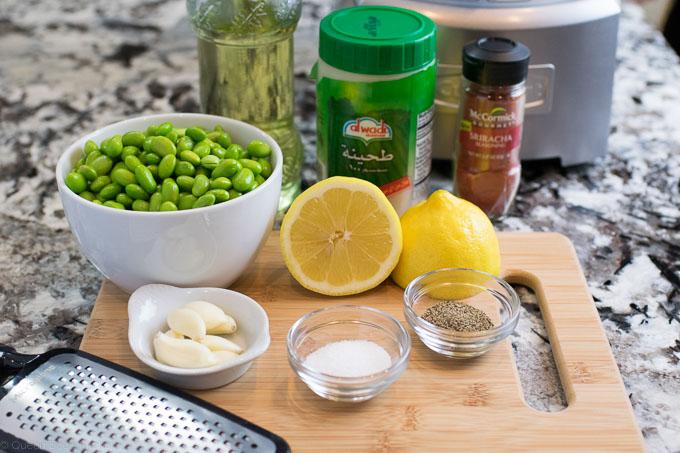 Ingredients for edamame hummus