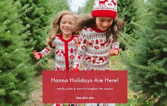 hanna andersson holiday apparel banner