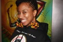 Belinda of BeUnique wearing Afrofusion Earrings