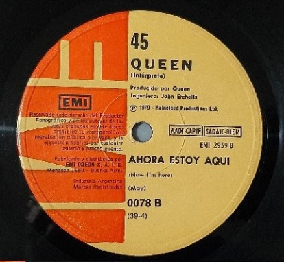 Love Of My Life - 45 tours Argentin