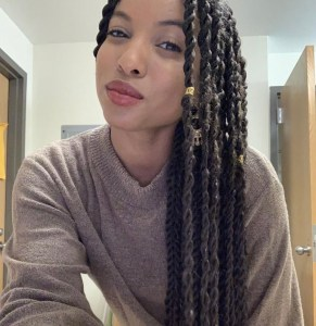 Anna wearing Senegalese twist as a protective style