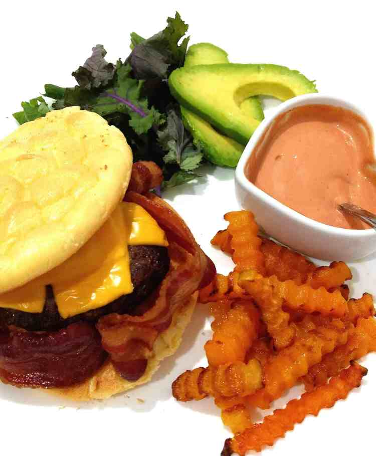 Ultimate Keto Low Carb Bacon Cheese Burger and Chips