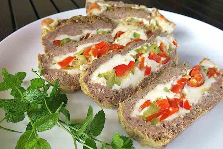 keto low carb stuffed meat plumcake loaf