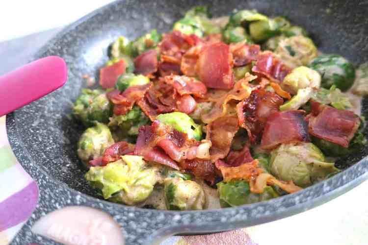 Low Carb Creamy Brussel Sprouts with Crunchy Bacon