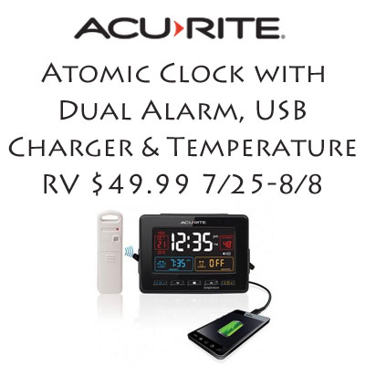 Acurite Atomic Clock with Dual Alarm, USB Charger and Temperature Giveaway